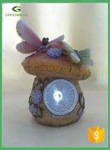 wholesale mini fairy house with solar light for garden decor Dragonfly mushroom house