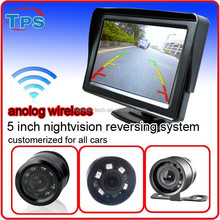 2015 new night vision 5 inch 2.4 G wireless reverse back camera with monitor
