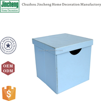 Antique blue stitching leather non woven storage box, toy storage box, collapsible storage box