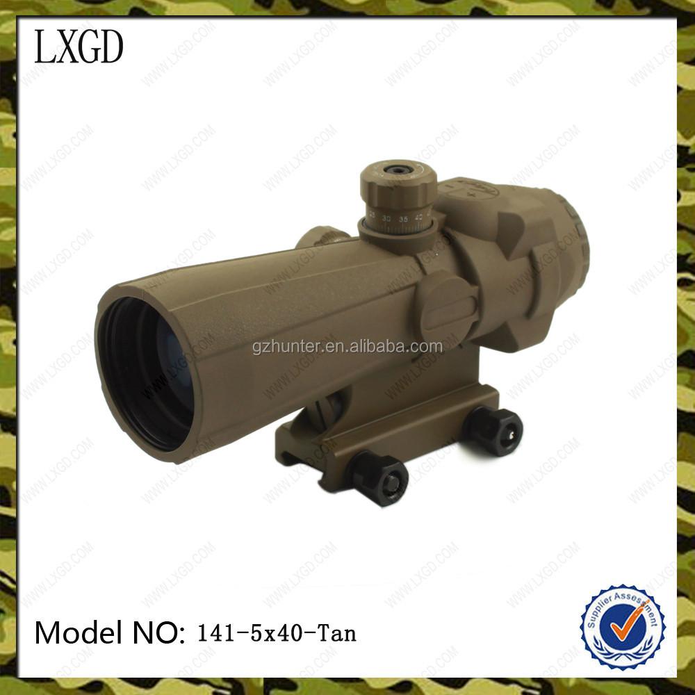 Tactical Illuminato lente di ingrandimento 5X big obiettivo tan matt long range di caccia dei cervi cannocchiali da puntamento ottico ingrandita rifle scope