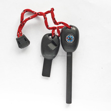 Hot-selling emergency rescue magnesium flint rod with compass and whistle