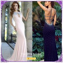 Mermaid stretch satin halter sleeveless beading cross back long evening dress GS120