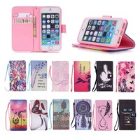 Magnetic Cute Cartoon Pattern Flip Wallet Case Leather For iPhone 5 5S
