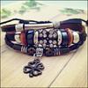 NPL017 Fashion Punk Style Bead Crystal Cord Four Leaf Clover Charm Genuine Leather Bracelet Braided Rope Unisex for Men & Women