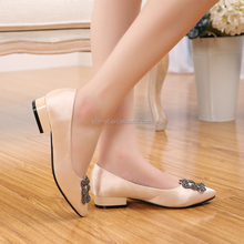 Hot selling lady women shoes pointed toe shoes upper imitation silk with square buckle lady casual shoe lady shoe manufacturer