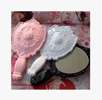 100pcs Vintage Rose Cosmetic Mirror Plastic Makeup Mirror Cute Girl Hand Make Up mirror DHL Freeshipping