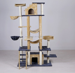 Eco-Friendly 200cm tall large cat tree furniture luxurious sisal cat scratching post