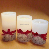 China guangdong factory wholesale low competitive price button candle LED with ribbon decoration