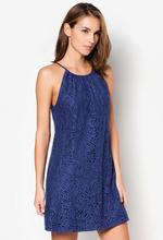 2014 nuevo estilo intrincado patrón de lazo azul vestido de encaje