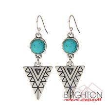 Retro Turquoise Triangle Alloy Pendant Earring N6-10086-E-1700