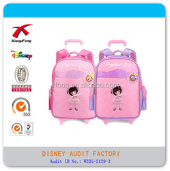 600D polyester kids school backpack trolley backpack for girl