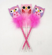 Customize felt owl feather pen for kids , promotional gift pen , shaped pen