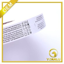Custom washing instructions printed paper care label