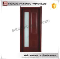 Hotel PVC Bathroom Door Glass Inserts Wooden Frame Door PVC Coating Door For Sale
