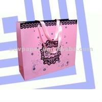 Cheap Kraft Paper Shopping Bags with Ribbon Handles