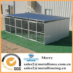 6'X12' shed row style metal steel tubing dog kennel with roof shelter and 3 dog runs