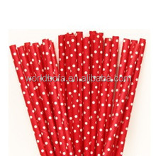 food grade red mini spots disposable paper drinking straw