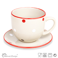 red color band and red spot ceramic large tea cup and saucer