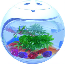 LED plastic round fish tank with air quality detector