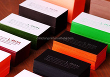 High quality elegant color edge embossed calling cards letterpress business cards printing