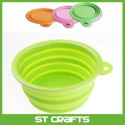 High quality foldable food grade silicone bowl , pet products silicone foldable dog bowl portable collapsible pet bowl