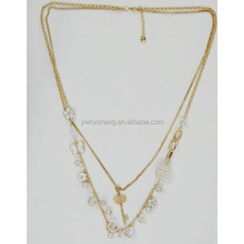 Fashion long chain necklace with beads and key pendant, layers jewelry necklace(RS-N155044)