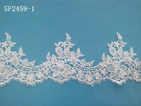 Distinctive bridal applique trim with polyester/cotton/rayon textile