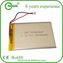 High Capacity 576090 3.7v 4000mah li-polymer battery for tablet pc