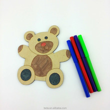 Best selling kids diy toys, bear design color your own wooden drawing set