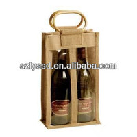 Two Bottles Wine Souvenir Bag Burlap Material with Wooden Handle and PVC Front Side