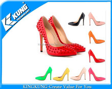 2015 fashion high heel pointed toe women red dress shoes