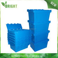 2015 HOT sale heavy duty foldable logistic nestable storage moving plastic crate with lid