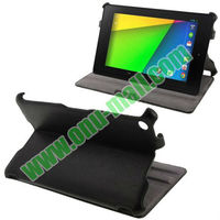 New Arrival Thermal Litchi Texture Leather Case for Google Nexus 7 (2013 Version) with Holder(Black)