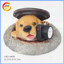 Cute decor resin dog with solar light, resin solar energy lighting