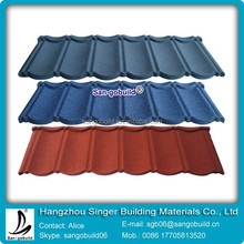 Stone chips coated steel tile/Hangzhou building material/Metal roofing price