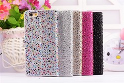 Luxury Bling Multi-Color Rhinestone Side Flip PU Leather Case Cover for Iphone 6 4.7 case