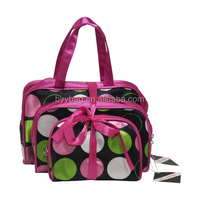 Unique classical dot satin cosmetic bag for 3pcs,promotion for woman