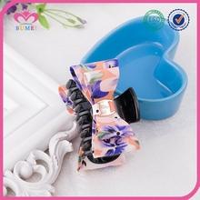 Beautiful flower designs fabric claw clip hair bow