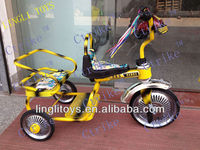 Children plastic toys bike, kids tricycle with two seats product for two seats baby toy plastic tricycle of twins