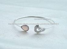jóias feitas à mão, 925 pulseira de prata pedra preciosa