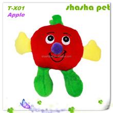 Apple plush squeaker pet toy,dog plush toys, plush toys pug dog
