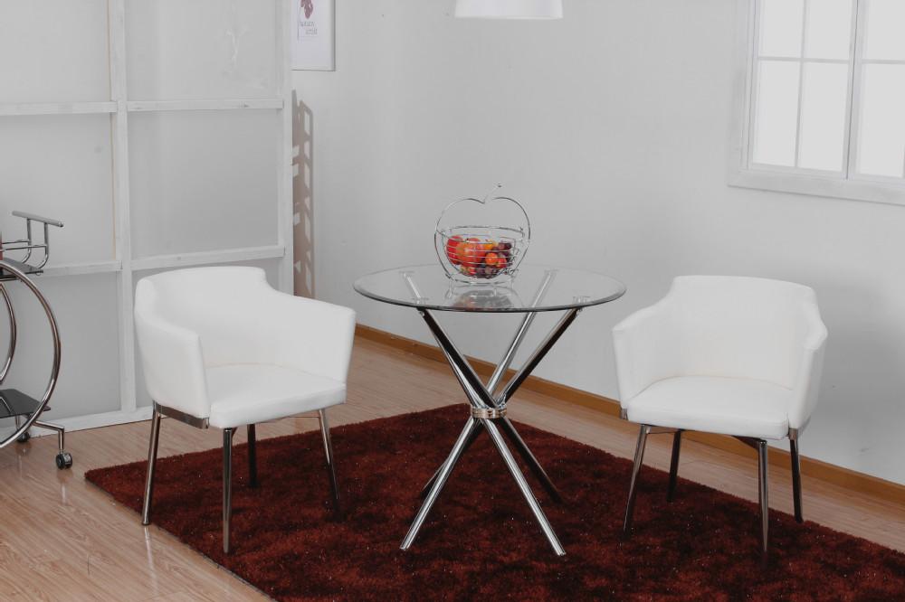 Chrom jambe en verre tremp top table ronde table manger id de produit 601 - Table a manger verre trempe ...