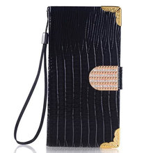 Hot for Samsung galaxy s6 wallet bag case cover lizard pattern leather flip cases with diamonds