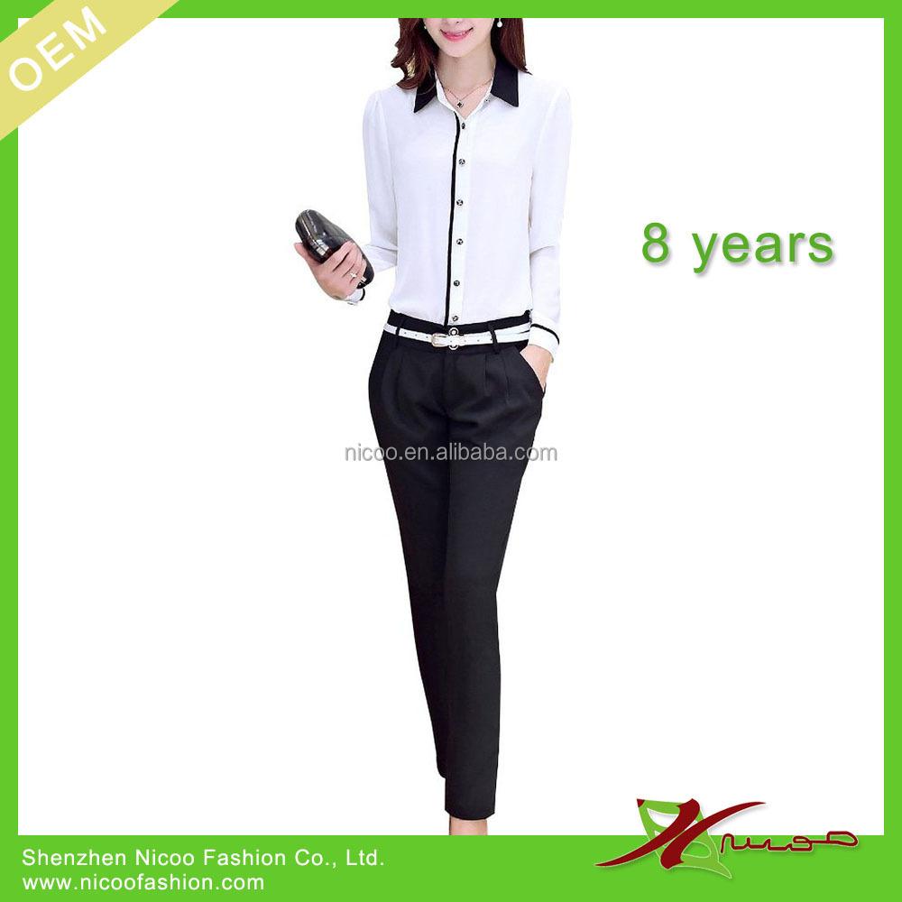 Office uniform blouse and pants blue denim blouses for Office design uniform