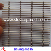 Metal curtain wall woven wire fabric, stainless steel elongated mesh for facade cladding