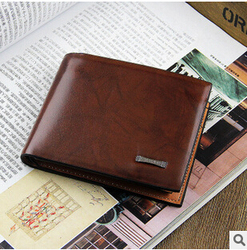 2014 new leather men's leather short wallet wallet to spend its own brand shelf wholesale custom A