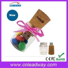 Drift cork bottle USB flash drive, Glass bottle USB, Transparent bottle USB flash drive festivel gift 2/4/8/16GB