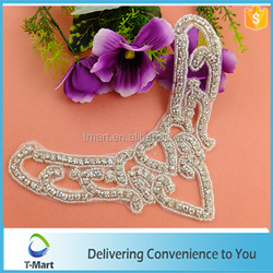 2015 newest heart shaped sew on bridal rhinestone applique with embroidery lace trimming