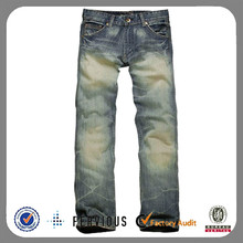 2014 fashion washed men denim fabric brand jeans wholesale