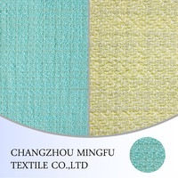 italian wool suit fabric for women, wool/poly/acrylic blended fabric, green,yellow color suit for summer